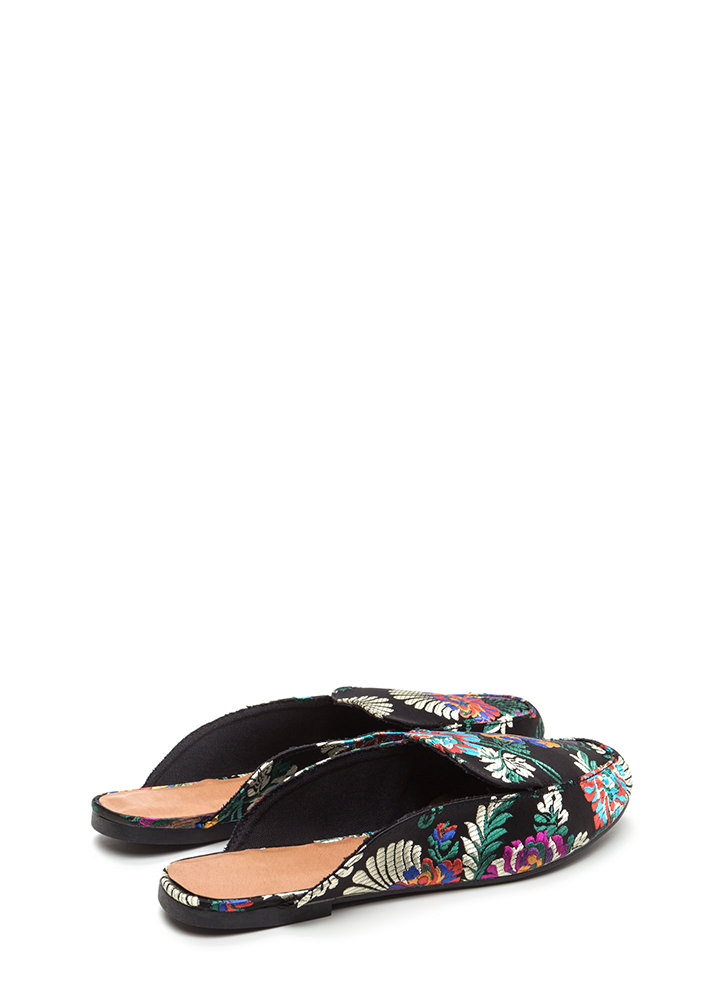 Floral Flow Satin Mule Flats BLACK