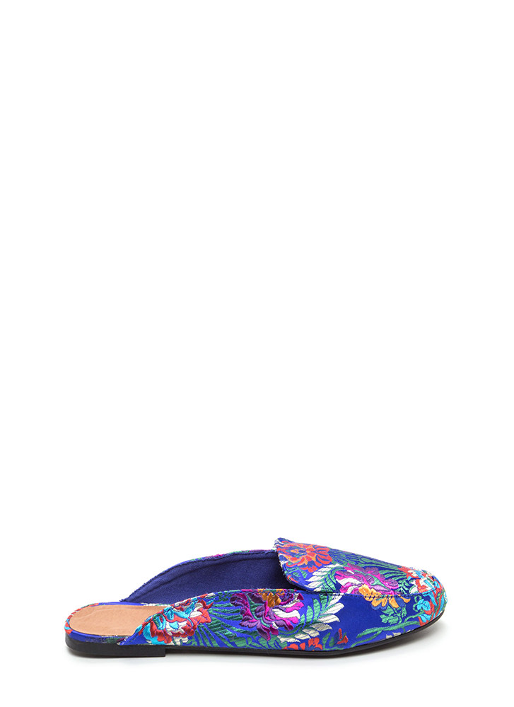 Floral Flow Satin Mule Flats BLUE