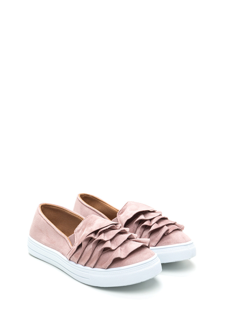 Ruffled Drama Faux Suede Sneakers MAUVE