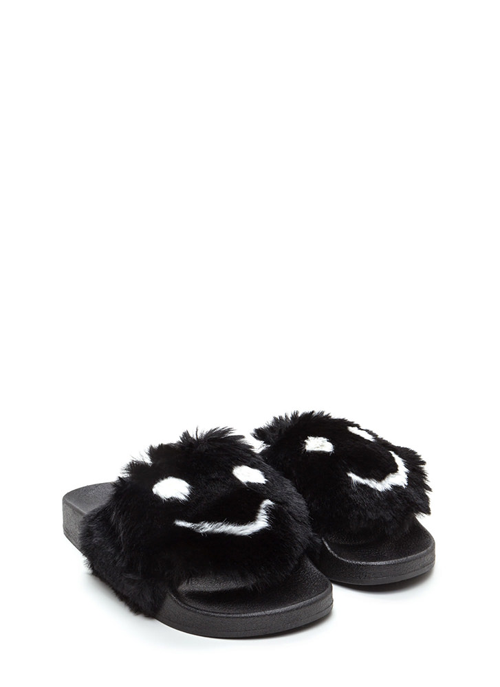 Happy To See You Faux Fur Slide Sandals BLACK