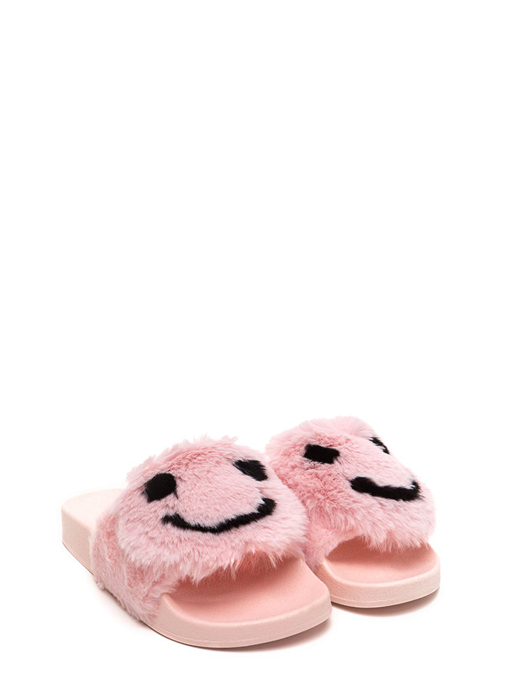 Happy To See You Faux Fur Slide Sandals PINK
