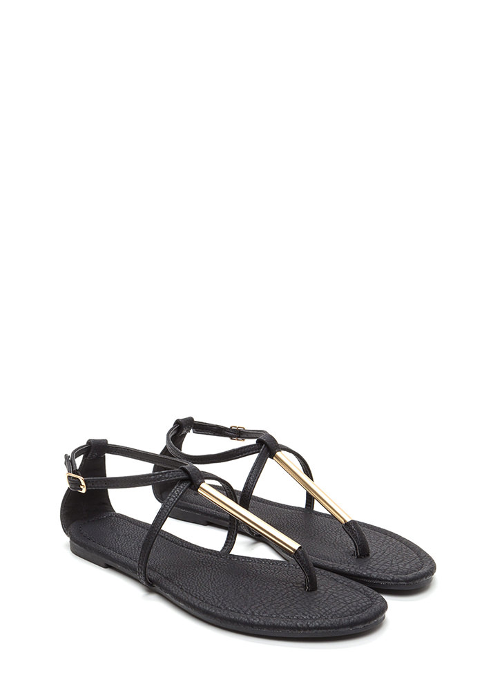 Chic Choice Faux Leather T-Strap Sandals BLACK
