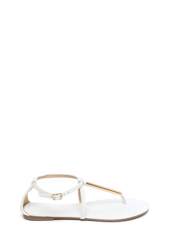 Chic Choice Faux Leather T-Strap Sandals WHITE