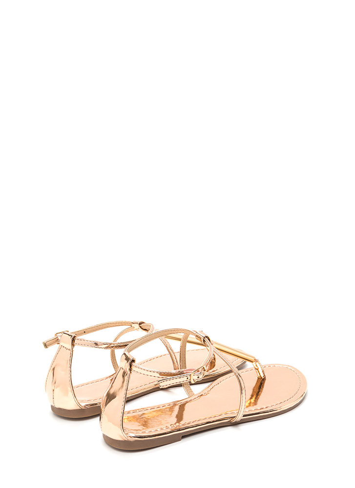 Chic Choice Metallic T-Strap Sandals ROSEGOLD
