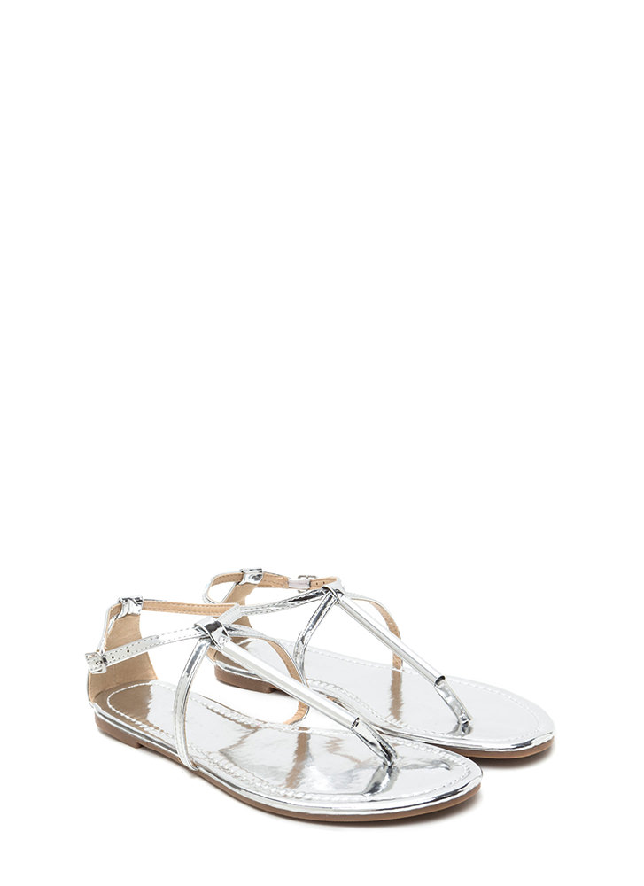 Chic Choice Metallic T-Strap Sandals SILVER