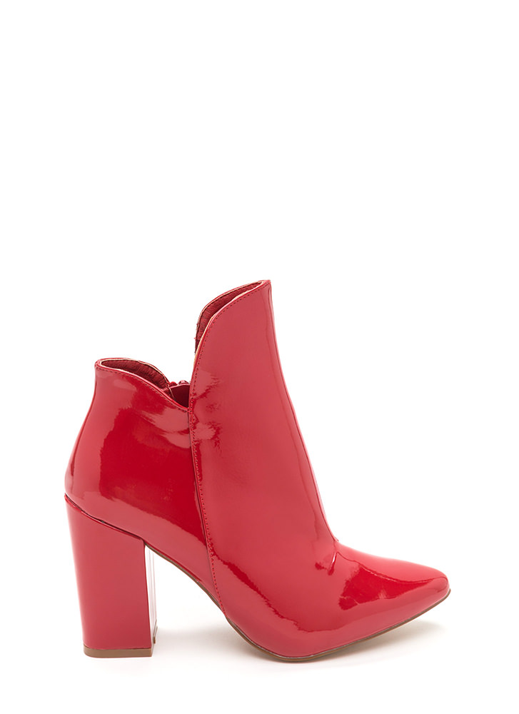 Smooth Transition Pointy Chunky Booties RED