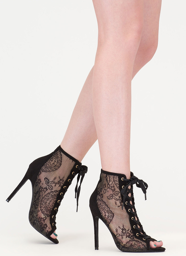 Style Points Sheer Lace-Up Booties BLACK