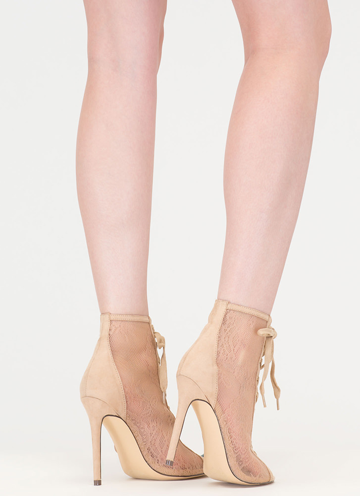 Style Points Sheer Lace-Up Booties NUDE