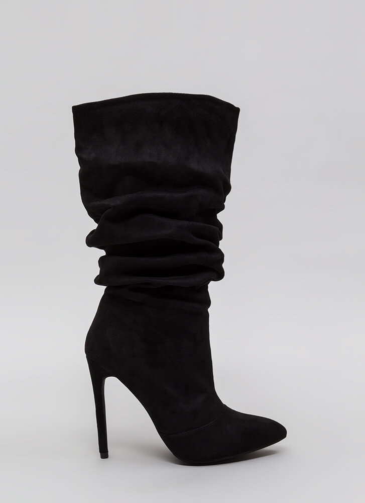 All About The Slouch Faux Suede Boots BLACK