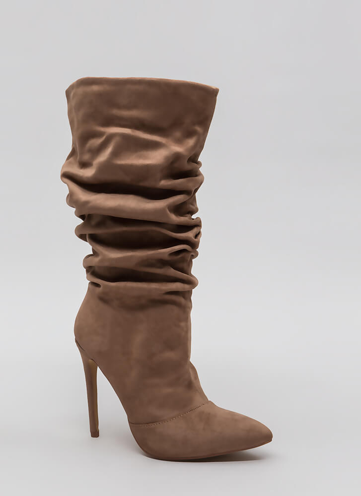 All About The Slouch Faux Suede Boots TAUPE