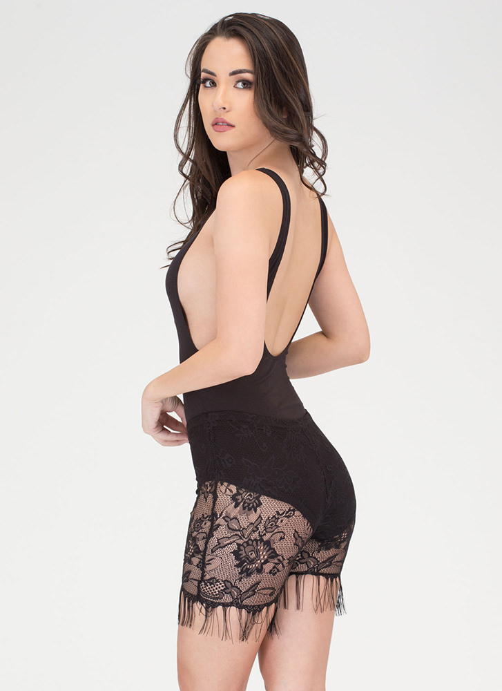 In The Right Lace Fringed Shorts BLACK