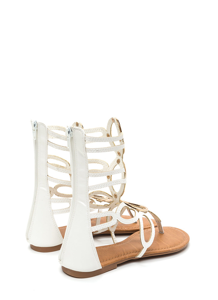 All Oval It Caged Gladiator Sandals WHITE