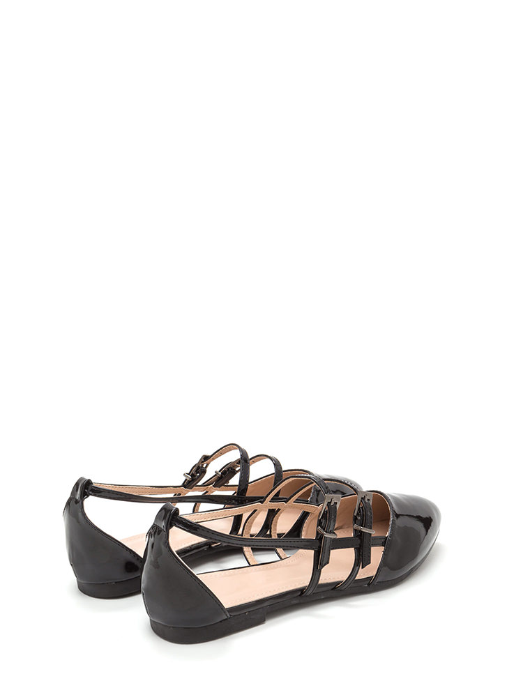 Make It A Double Faux Patent Flats BLACK (Final Sale)
