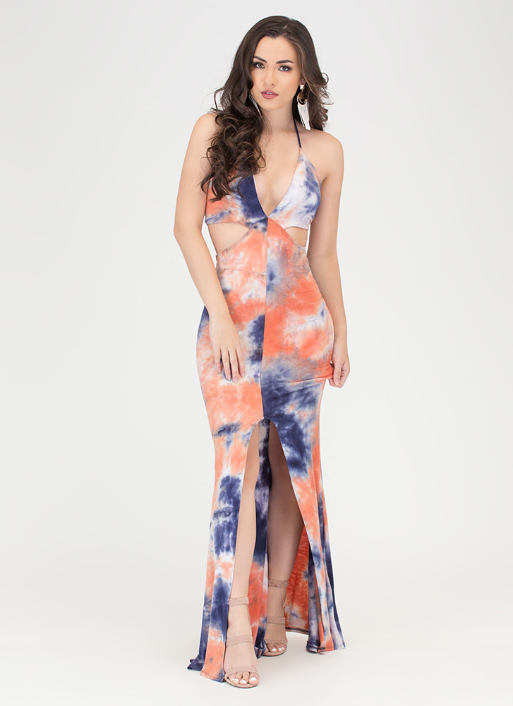 Tongue Tie-Dyed Cut-Out Maxi Dress NAVYORANGE