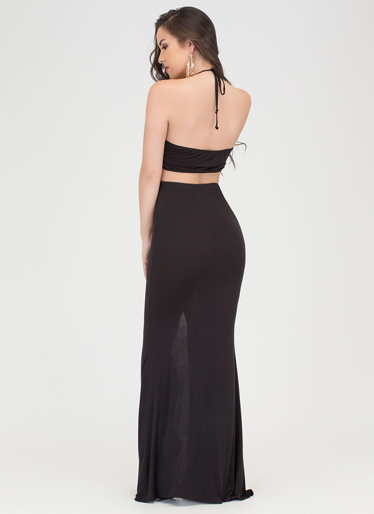 Tongue Tied Cut-Out Maxi Dress BLACK