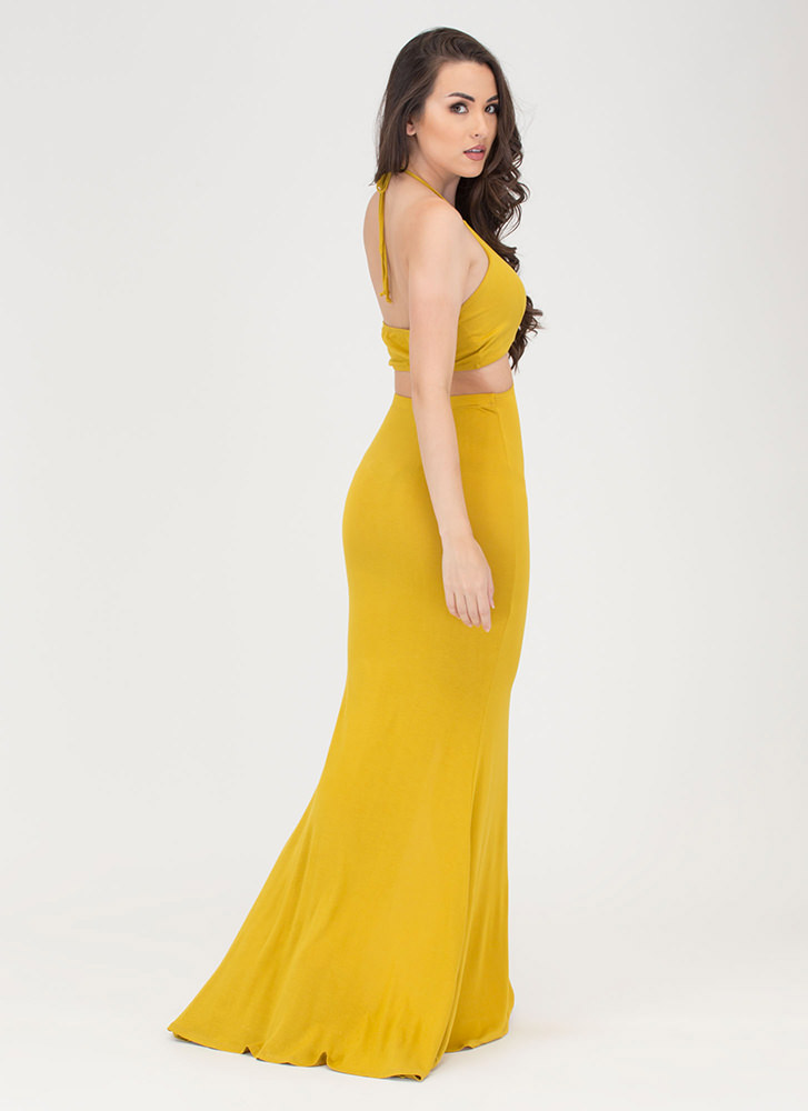 Tongue Tied Cut-Out Maxi Dress LEMONGRASS