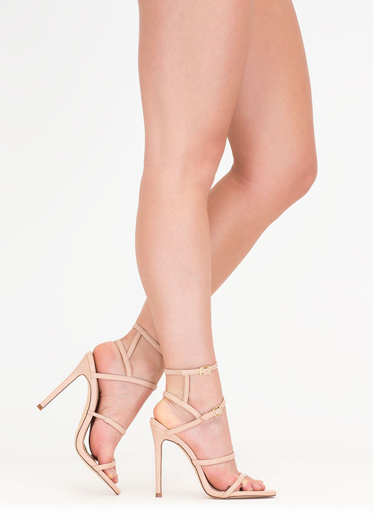 Strappy Stunner Faux Leather Heels NUDE