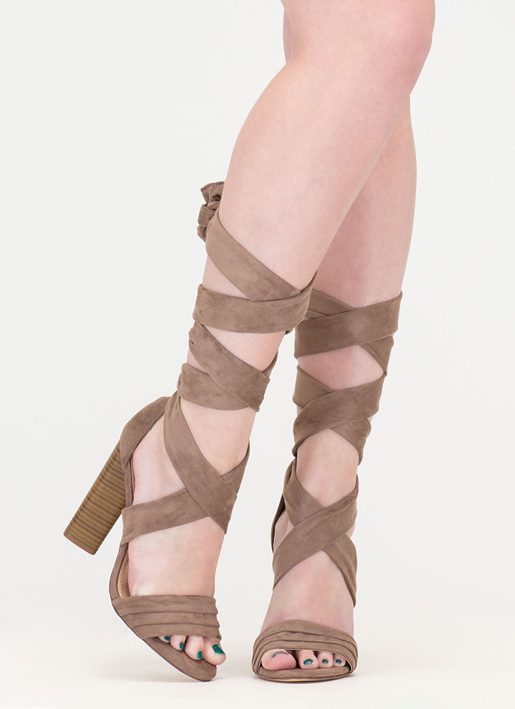 Chic Muse Tied Gladiator Sandals TAUPE