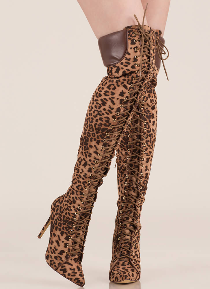 Statement Strut Leopard Thigh-High Boots LEOPARD