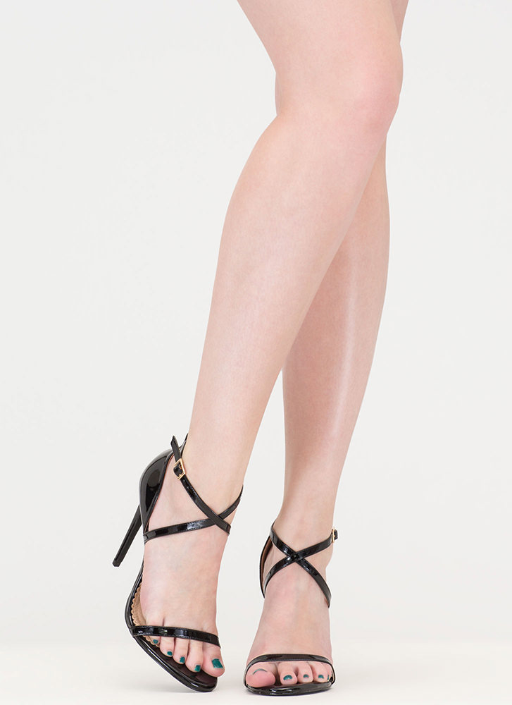 X-Off Strappy Faux Patent Heels BLACK