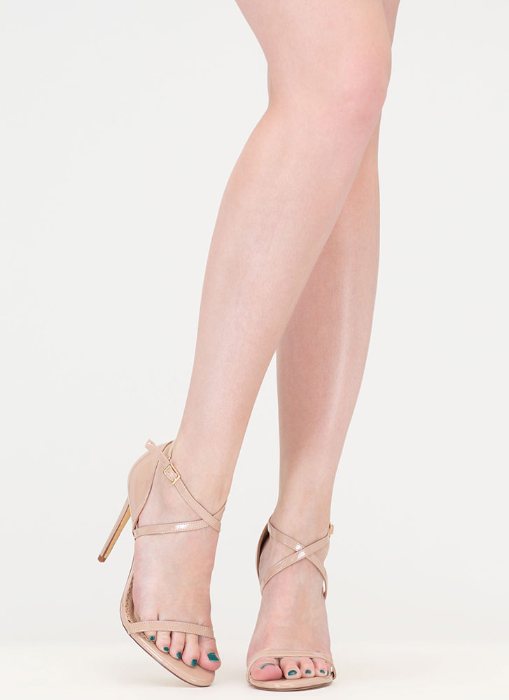 X-Off Strappy Faux Patent Heels NUDE