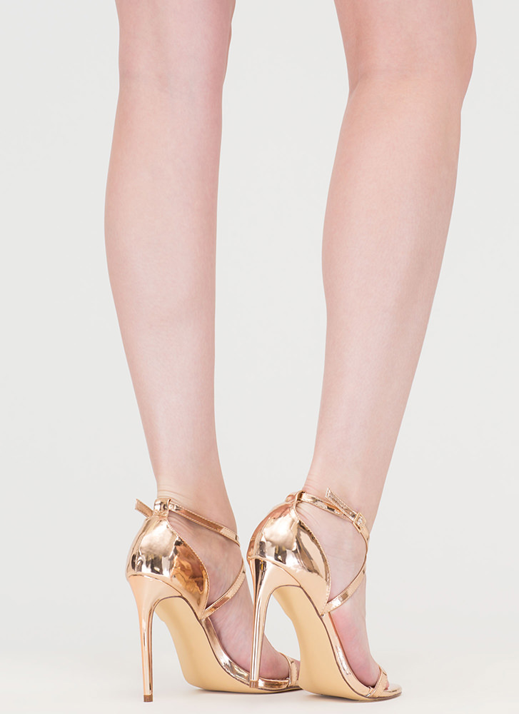 X-Off Strappy Metallic Heels ROSEGOLD