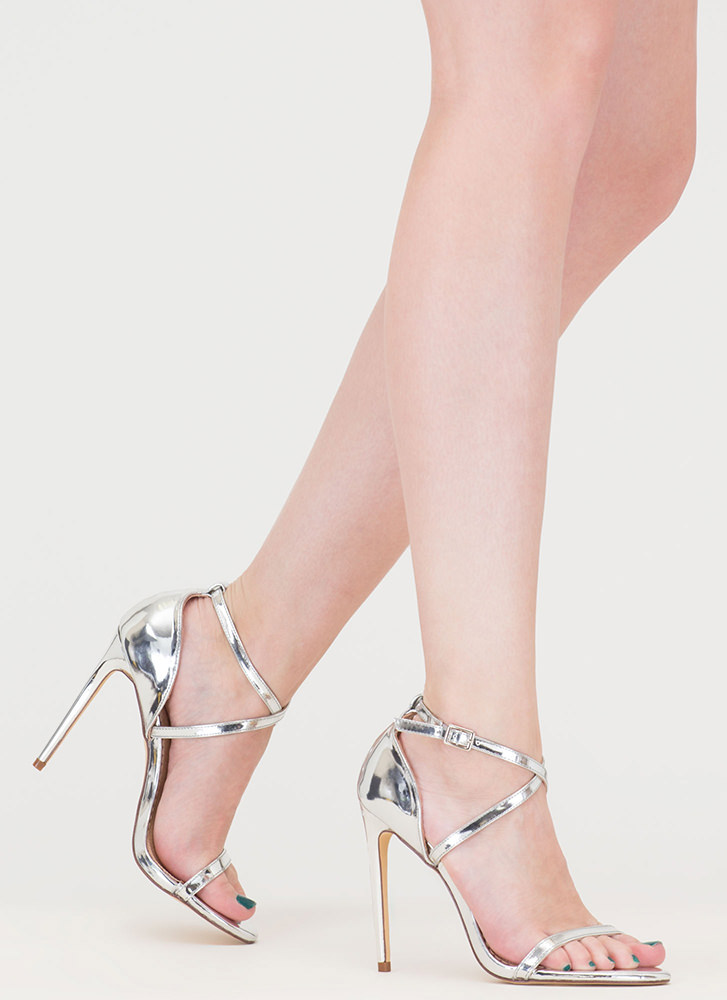 X-Off Strappy Metallic Heels SILVER