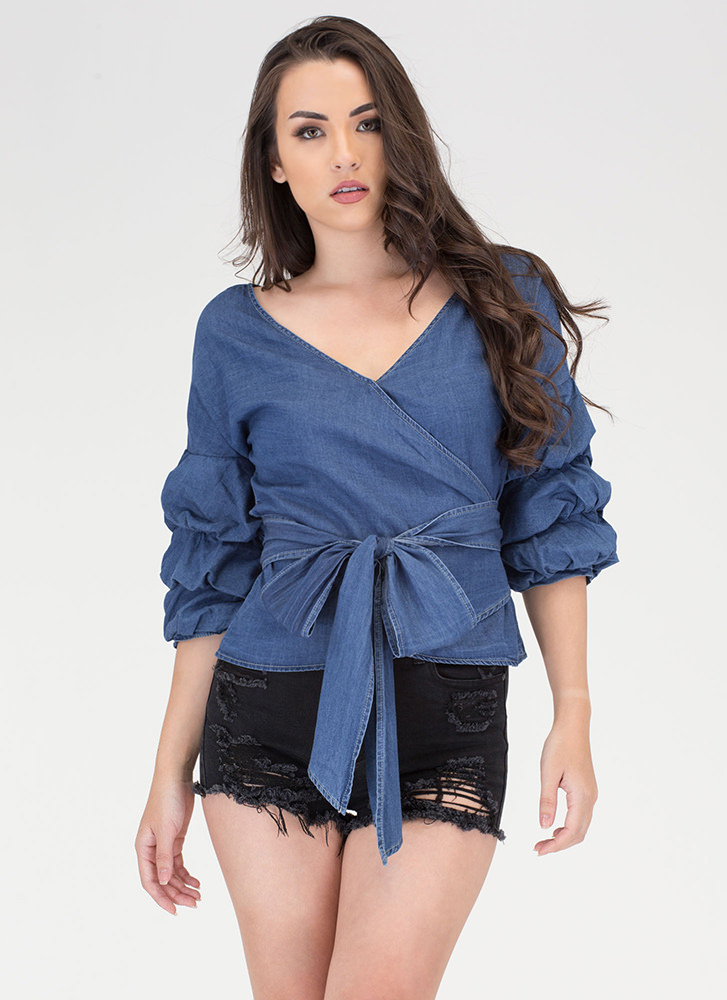 Chambray Bae Statement Wrap Top BLUE