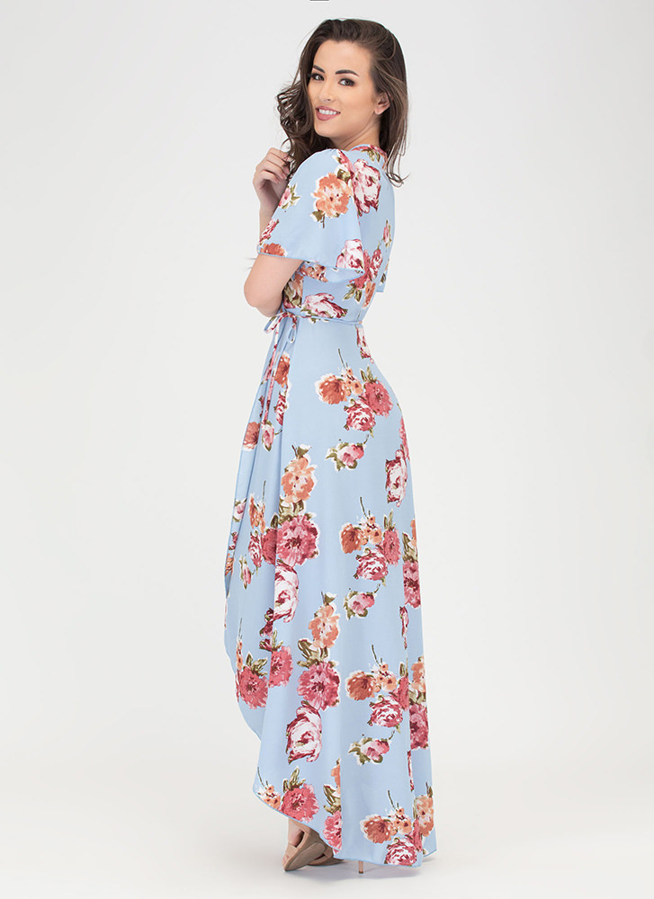 Sassy Florals High-Low Wrap Dress BLUE