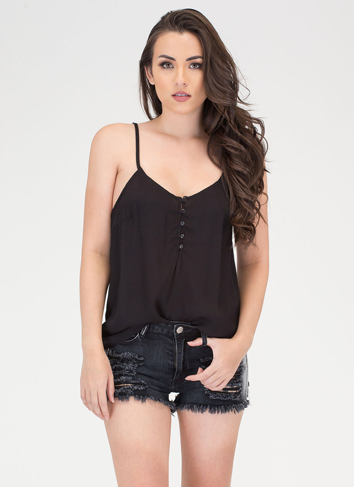 Push Your Buttons Cami Tank Top BLACK