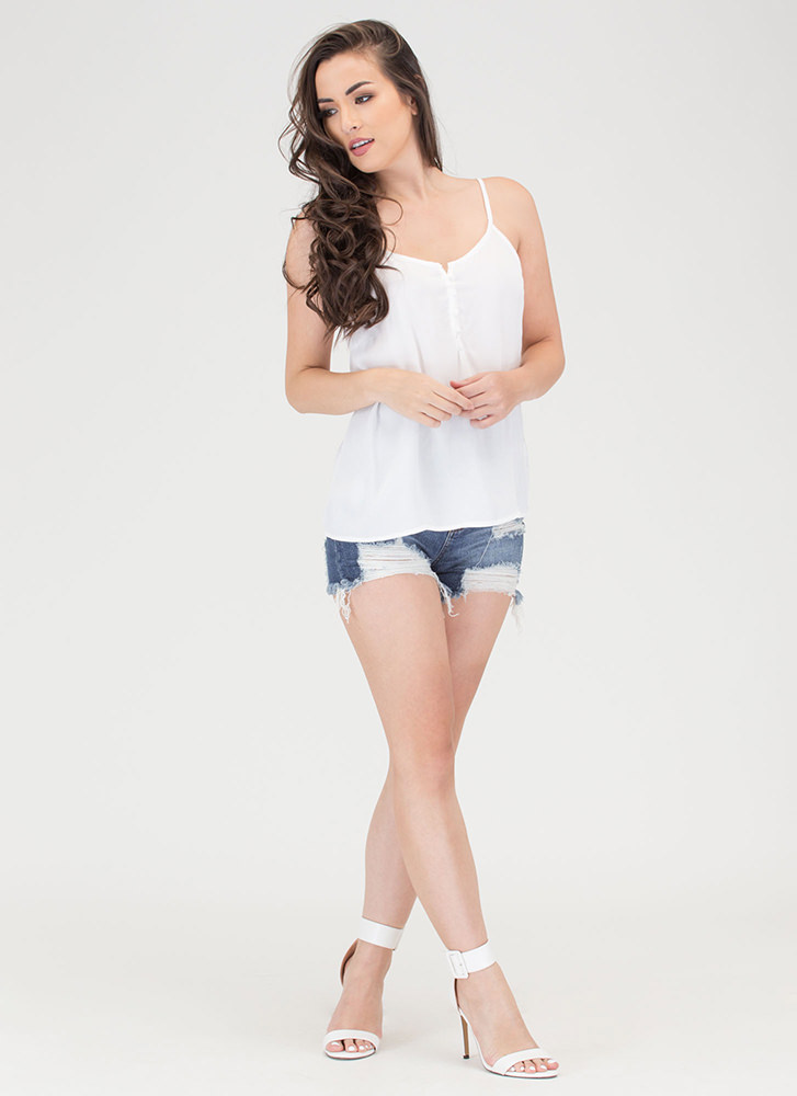 Push Your Buttons Cami Tank Top WHITE
