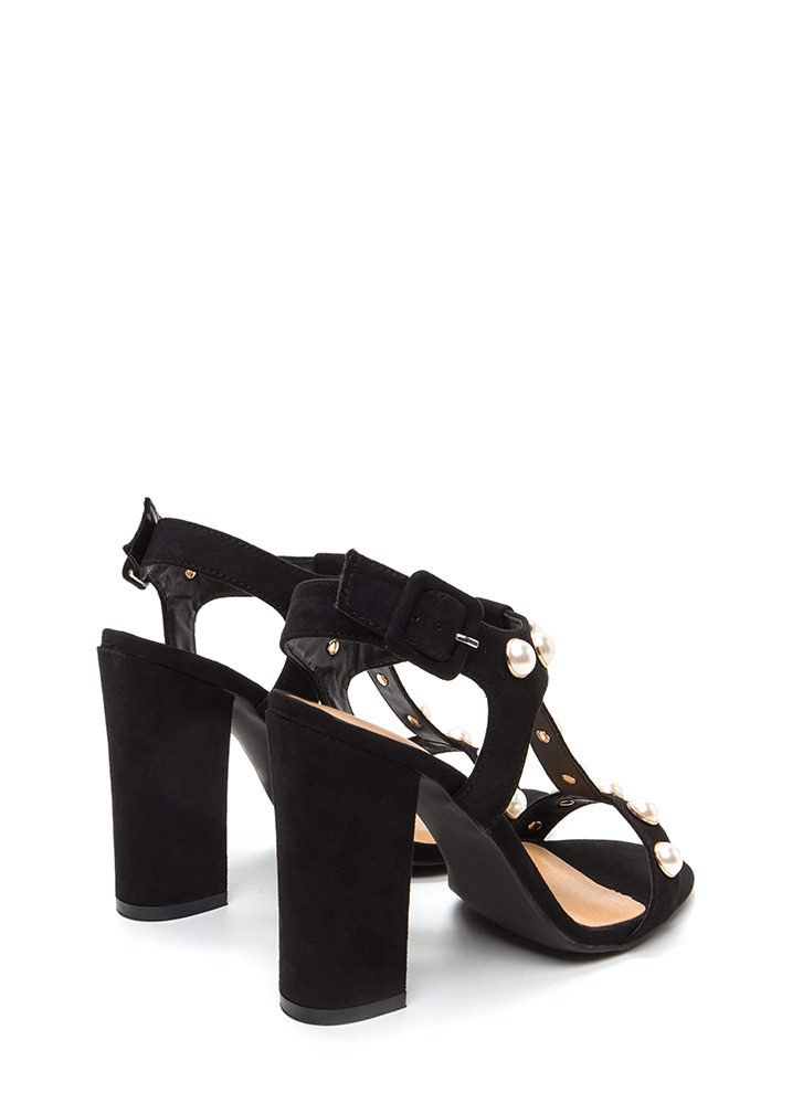 Pearl Power Strappy Faux Suede Heels BLACK