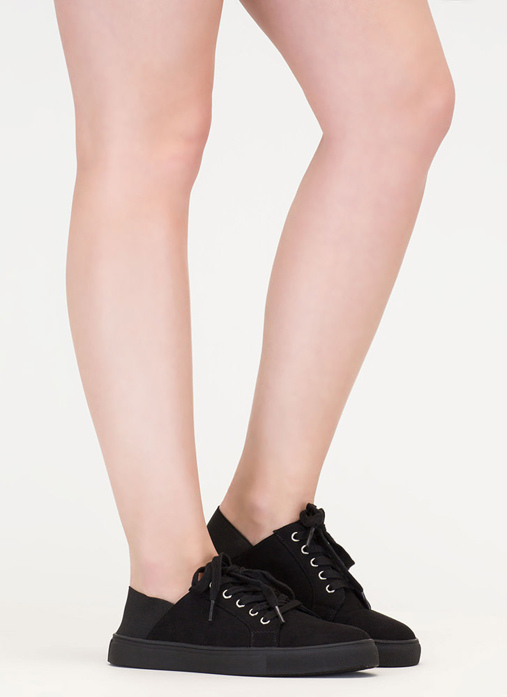 It's A Stretch Faux Suede Sneakers BLACKBLACK