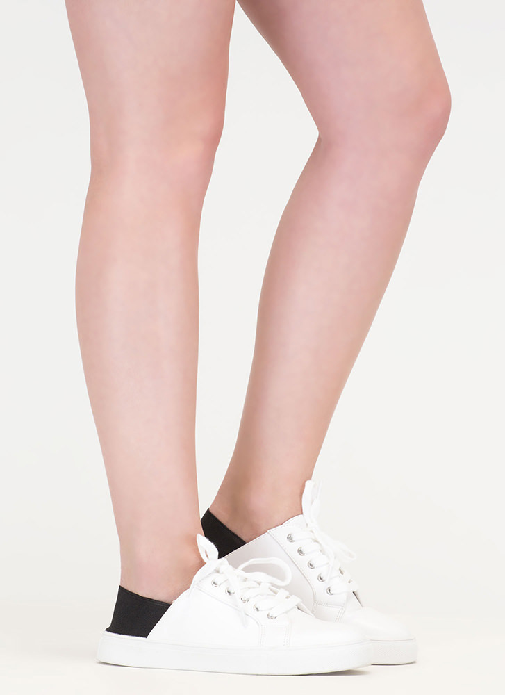 It's A Stretch Faux Suede Sneakers WHITEBLACK