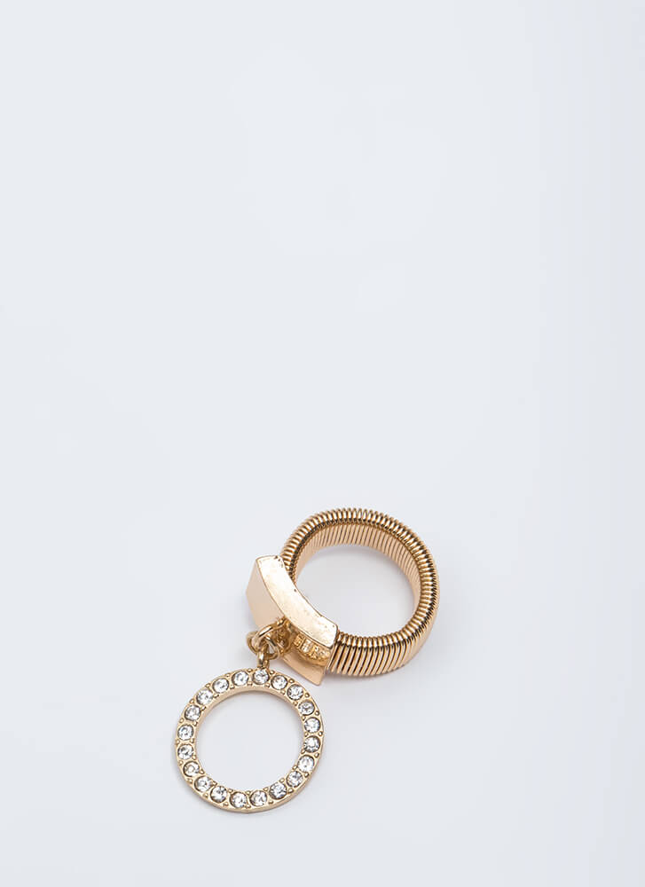 Statement Bauble Rhinestone Hoop Ring GOLD