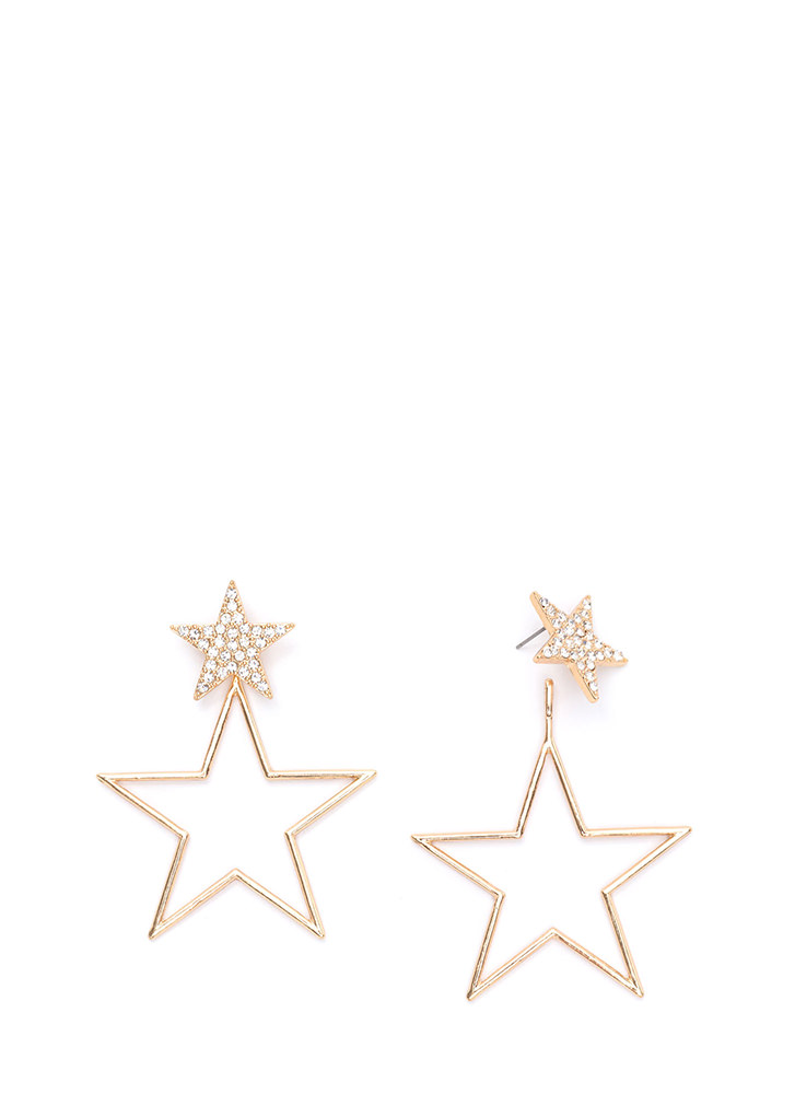 Star Quality Sparkly Statement Earrings GOLD