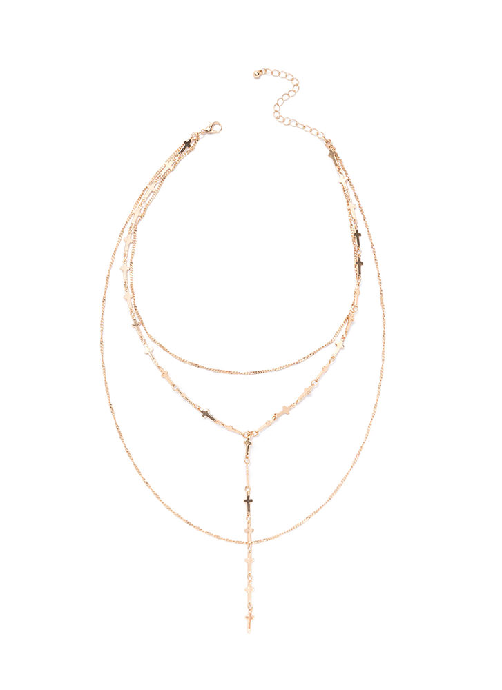 Cross Over Draped Y-Necklace GOLD