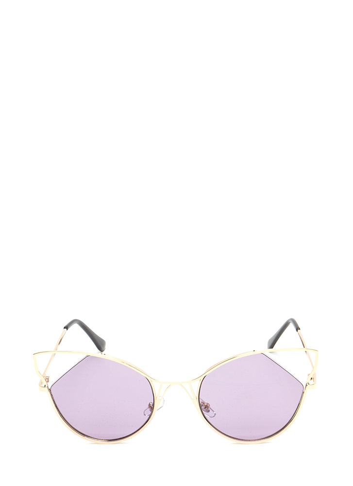 Feline Good Cut-Out Tinted Sunglasses PURPLE