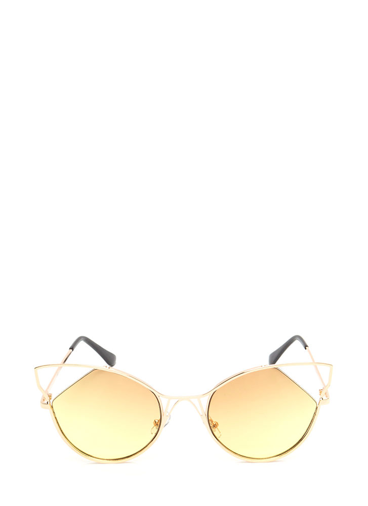Feline Good Cut-Out Tinted Sunglasses YELLOW