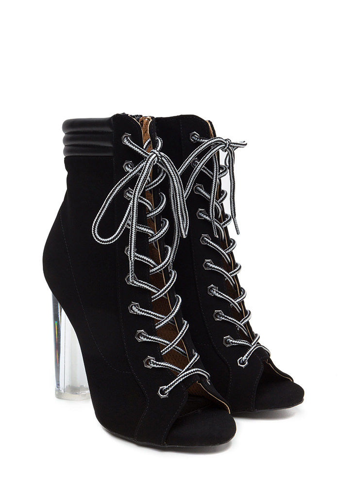 Take A Hike Clear Chunky Lace-Up Booties BLACK