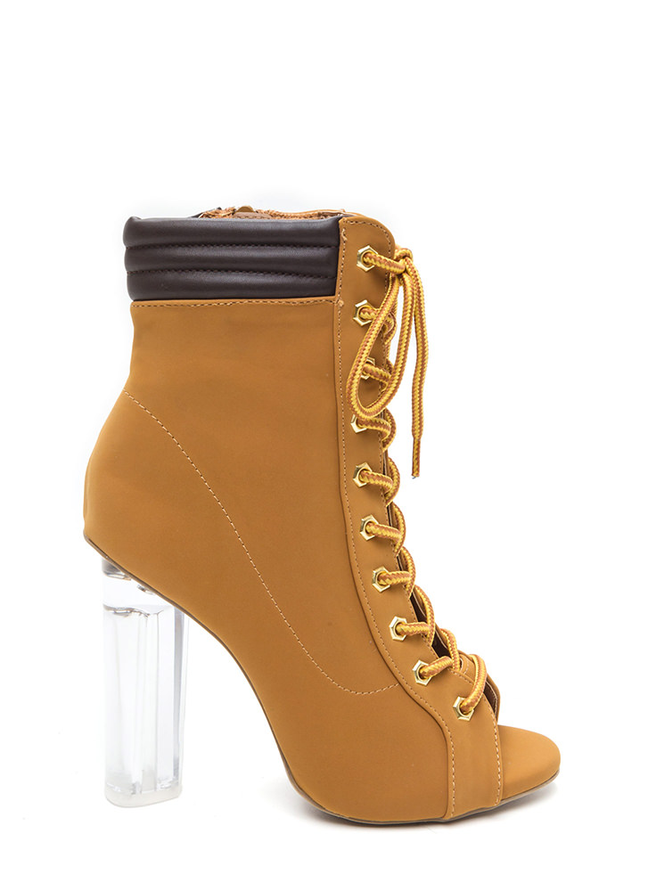 Take A Hike Clear Chunky Lace-Up Booties CAMEL