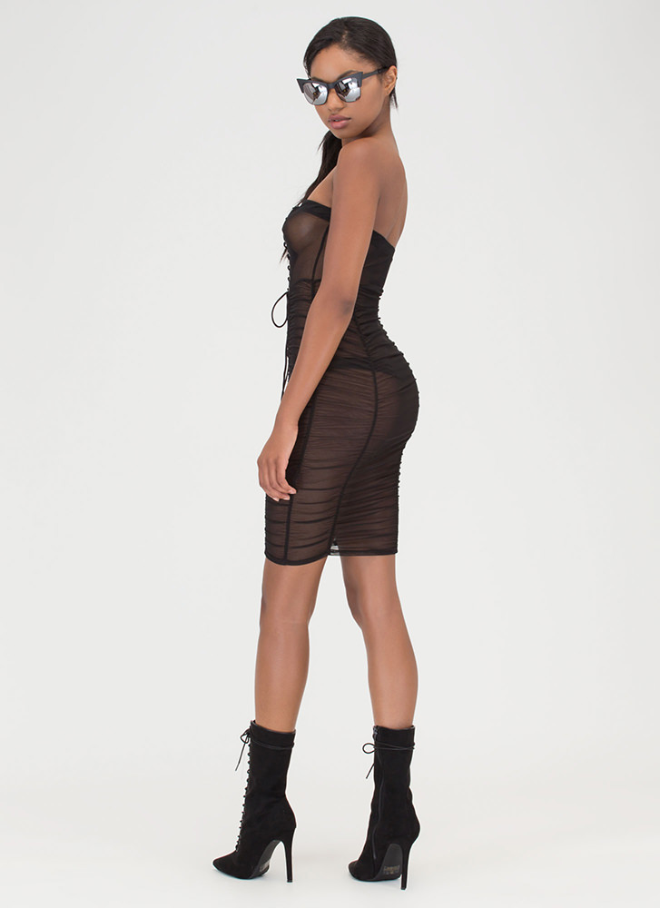 Fine And Flirty Sheer Lace-Up Dress BLACK