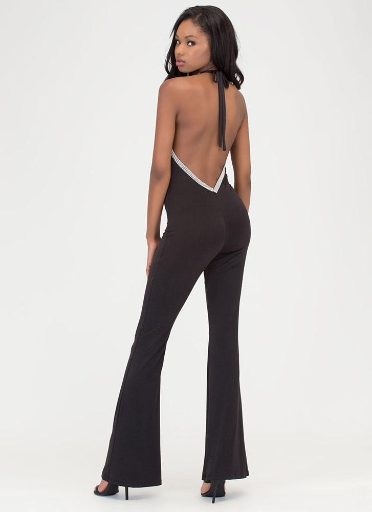 Glam Goddess Sparkly Palazzo Jumpsuit BLACK