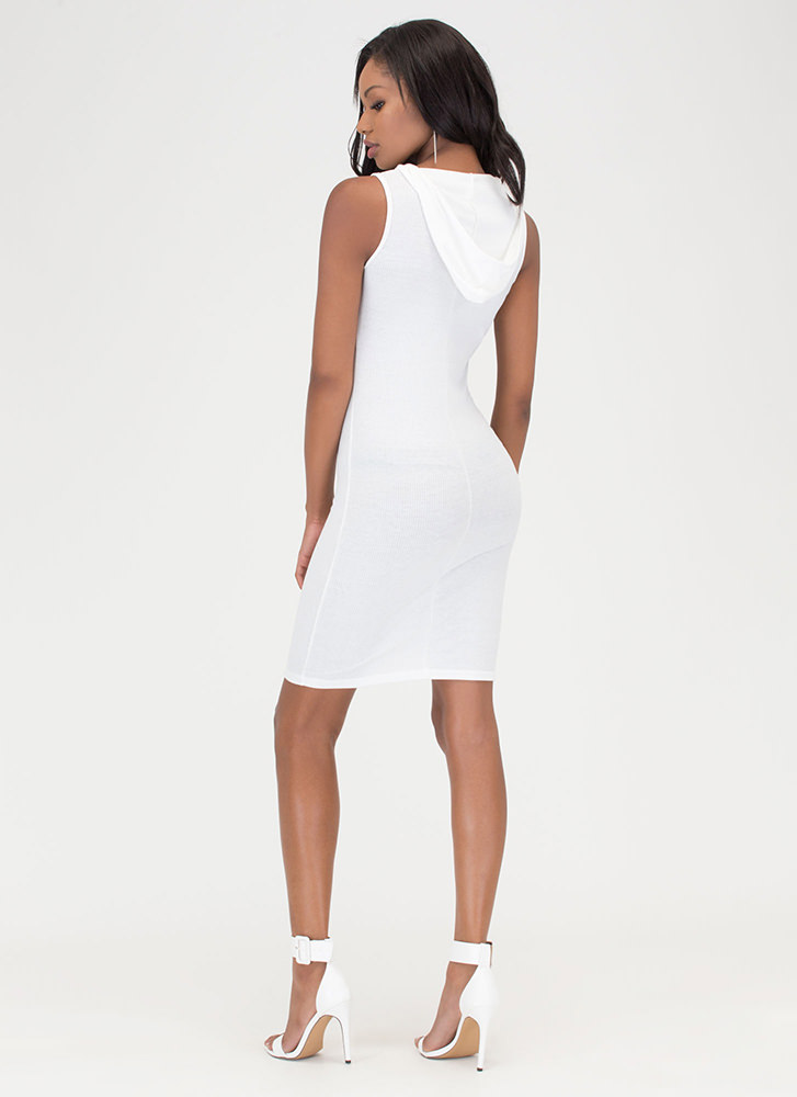 In The Hood Ribbed Midi Dress WHITE