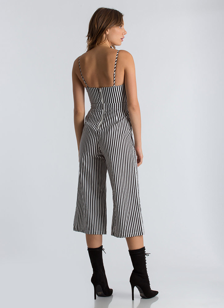 Bow My Goodness Striped Cropped Jumpsuit BLACK
