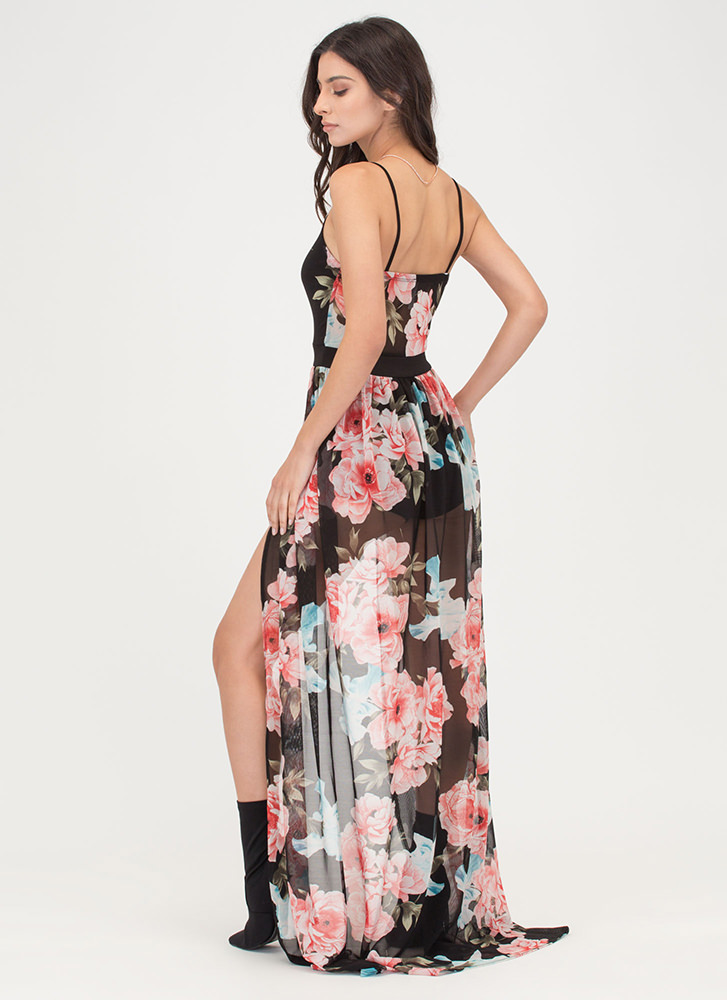 Floral Queen Sheer Plunging Maxi BLACKPINK (Final Sale)