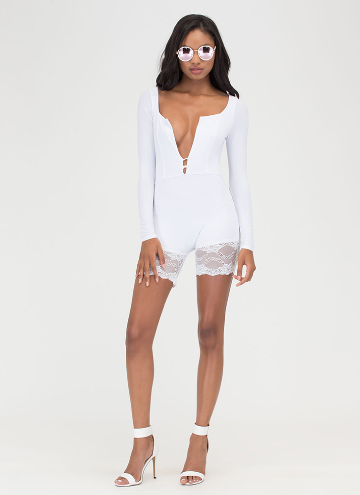 Romp And Roll Lace Trim Romper WHITE