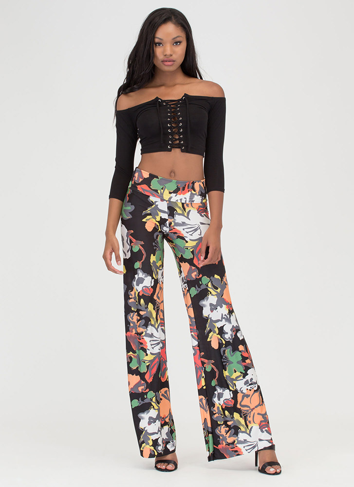 Art School Floral Palazzo Pants BLACK