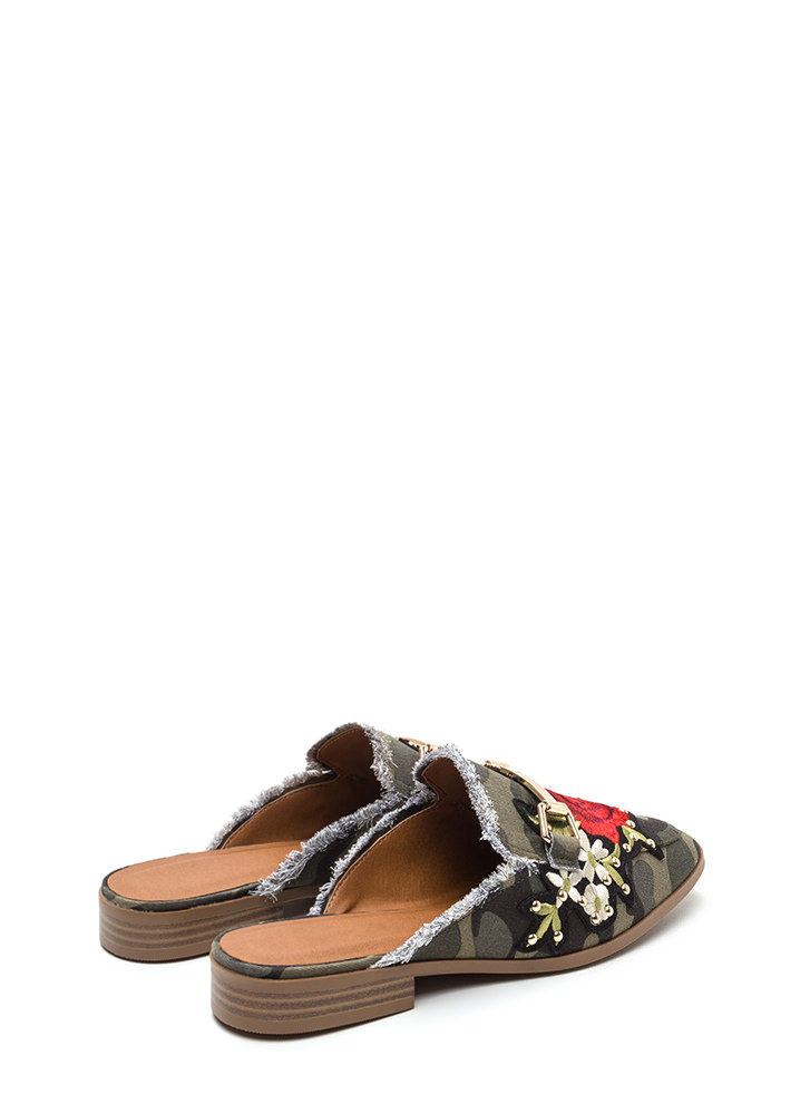 Floral Stud Fringed Camo Mule Flats CAMOUFLAGE