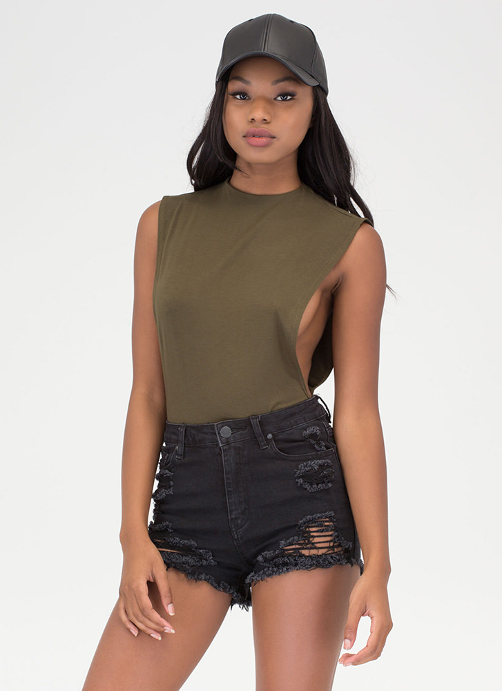 Side To Side Deep-Cut Bodysuit OLIVE (You Saved $14)